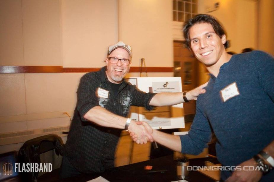 Greeting prize-winner Ben Silverstein at the 2015 FLASHBAND DC event ‡
